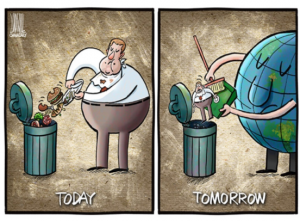 cartoon of waste going into a garbage